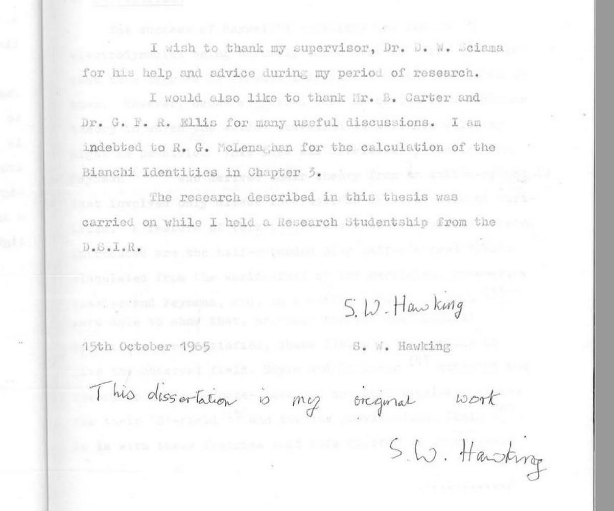 Stephen Hawking: la sua tesi di dottorato a portata di click