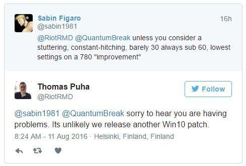 La versione Windows 10 di Quantum Break non riceverà più aggiornamenti
