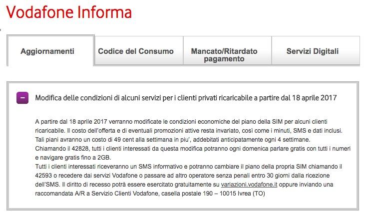 Rimodulazione offerta Vodafone, rincari di 0.49 euro a settimana