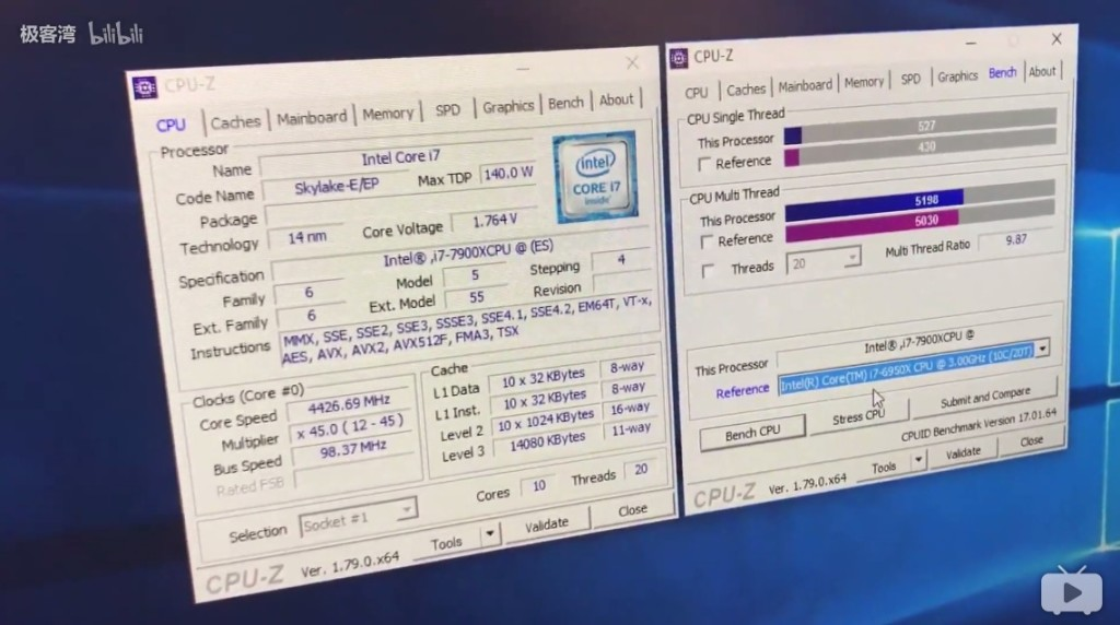 Intel Core i9 7900X vs Core i7 6950X CPU Z Performance Benchmark