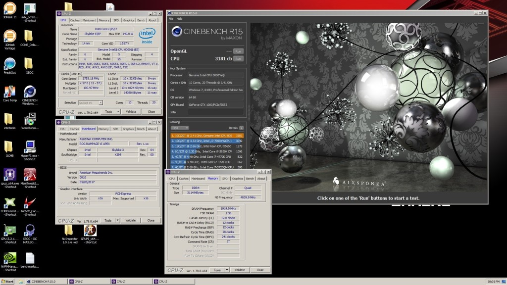 Intel Core i9 7900X Cinebench R15 record