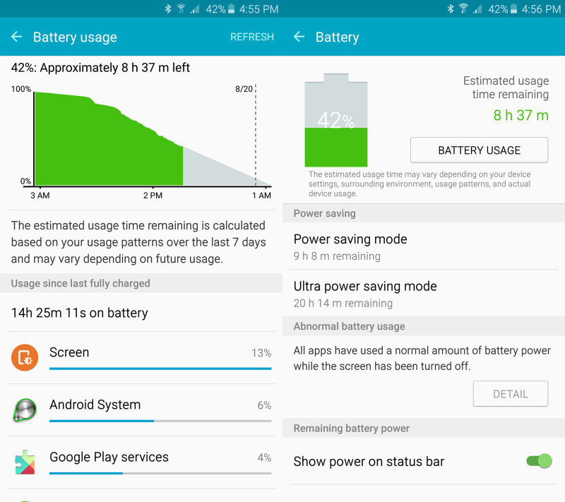 note 5 battery life screens 1