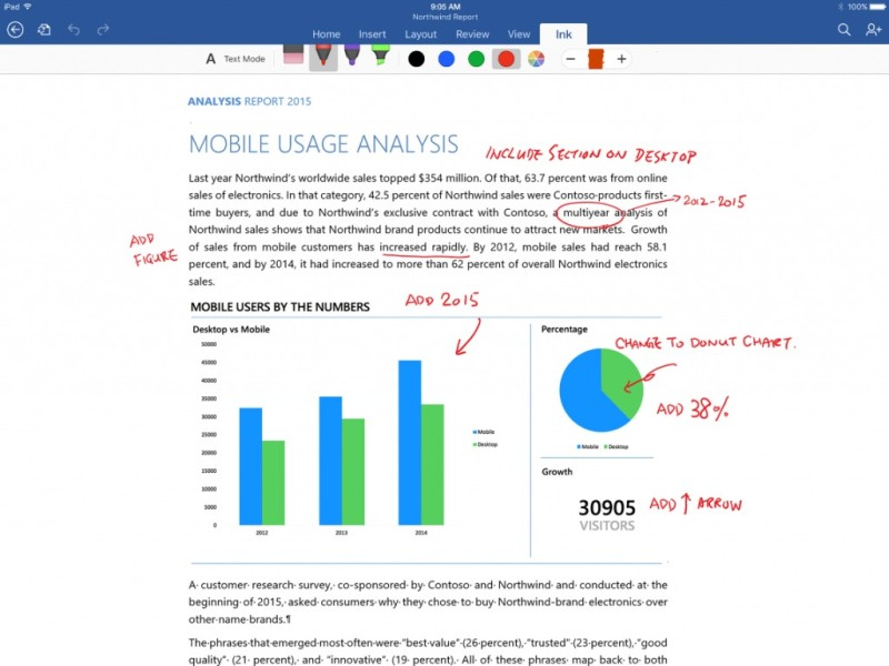 Office updates for the iPad 5 1024x769