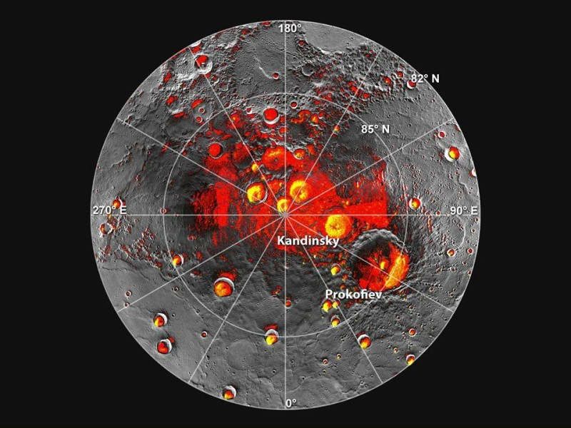 messenger mercury shadowed polar craters