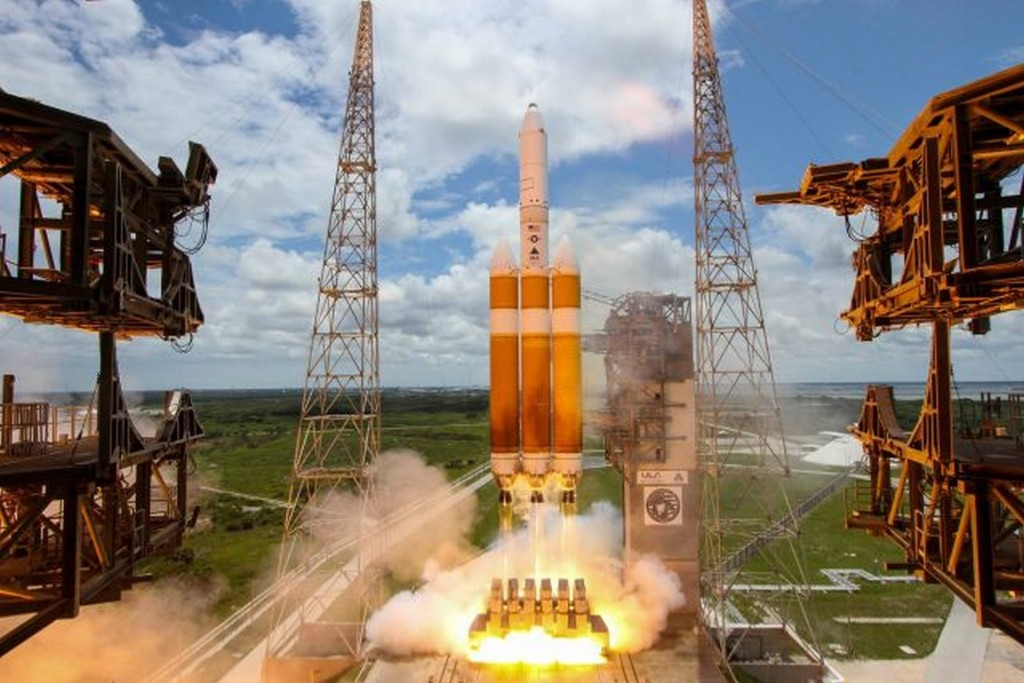 A Delta IV Heavy rocket launches a national security satellite in 2016