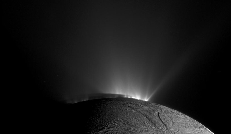 Saturn's icy moon Enceladus is home to many icy geysers at its south pole as seen in this view from NASA's Cassini spacecraft on Nov  30, 2010