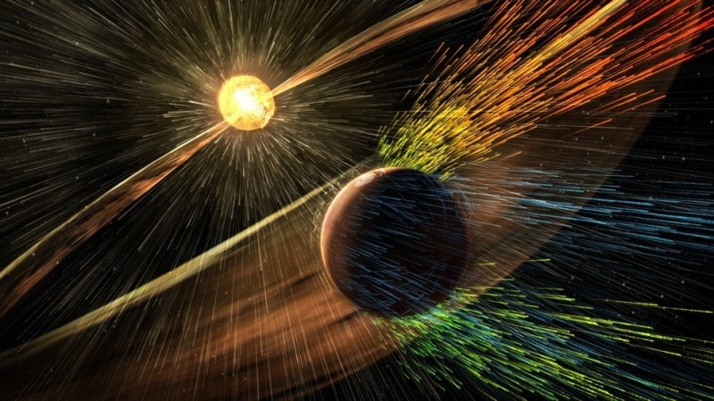Artist's illustration of a solar storm hitting Mars and stripping ions from the planet's upper atmosphere