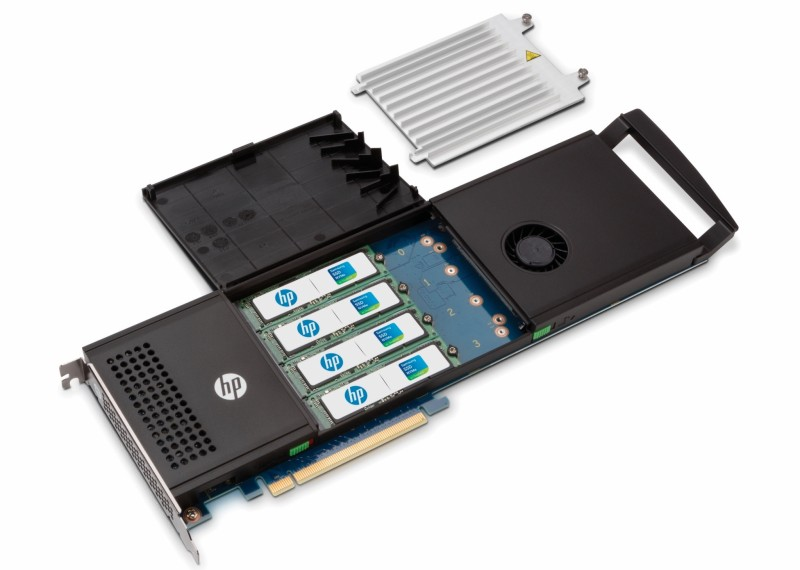 HP Z Turbo Drive Quad Pro open, heat sync removed showing Samsung SSD NVMe m 2 SSD modules