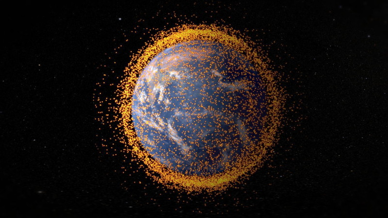 This graphic, created in 2013, shows the cloud of space junk surrounding Earth