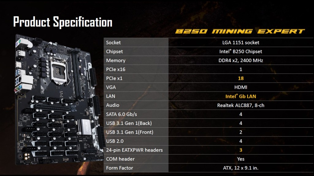 ASUS B250 Mining Expert Motherboard 8