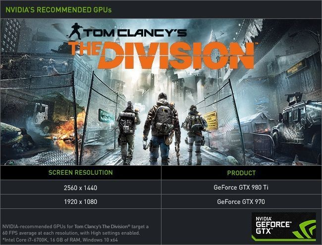 tom clancys the division nvidia recommended graphics cards