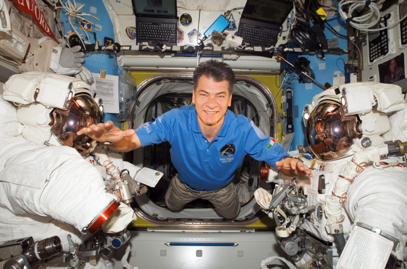 ESA astronaut Paolo Nespoli inside the Station s Quest Airlock