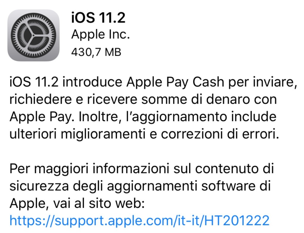 Aggiornamento iOS 11.2 disponibile per iPhone e iPad