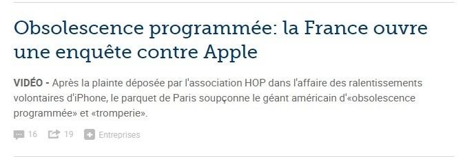 Prima pagina Le Figaro apple obsolescenza programmata