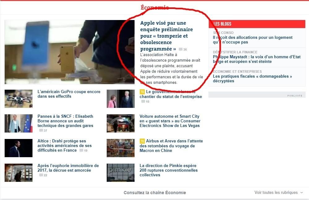 Prima pagina Le Monde apple obsolescenza programmata