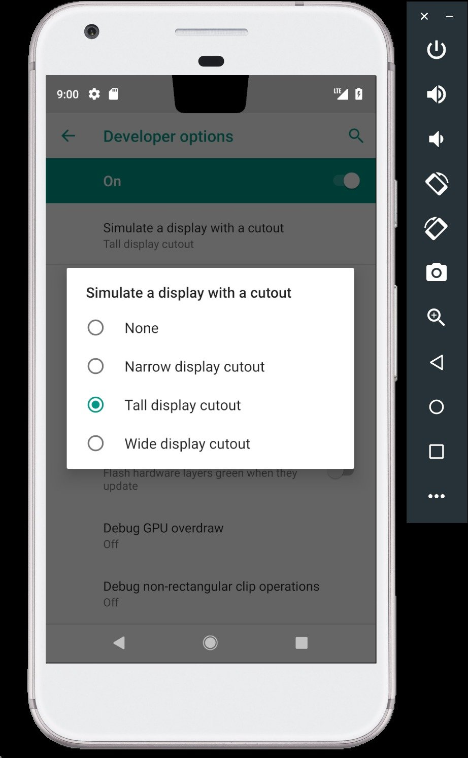 nexus2cee android p emulator cutout