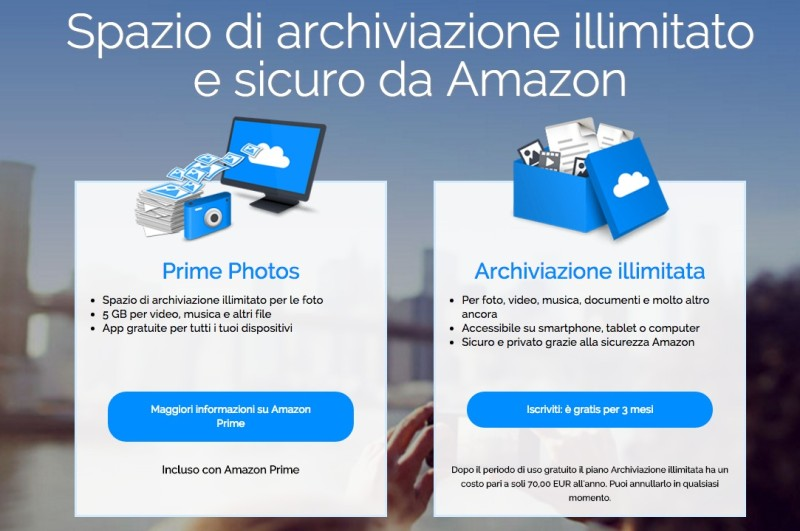 Amazon Cloud Drive illimitato a 70 euro all'anno