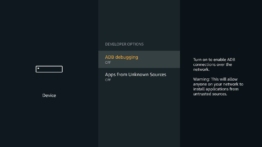 Developer Options ADB Debugging Unknown Sources Off
