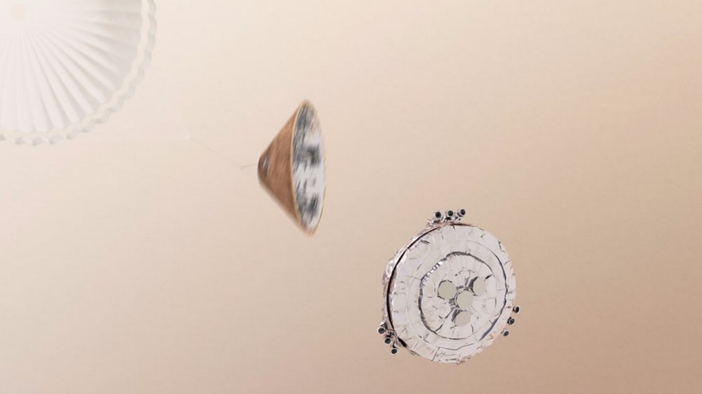 Artist's concept of Schiaparelli making its final descent Credit ESA