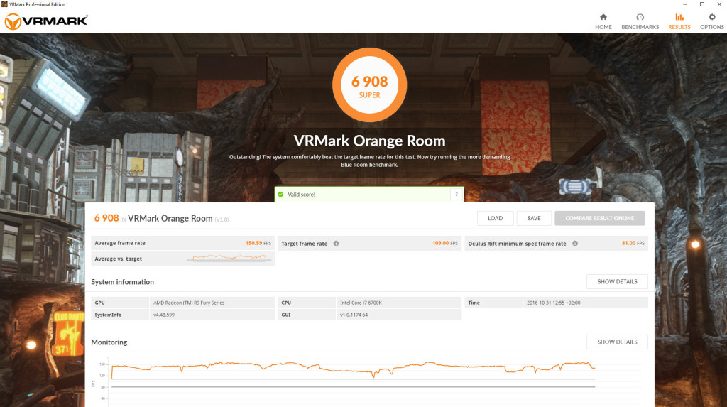 vrmark ui result screen orange room desktop