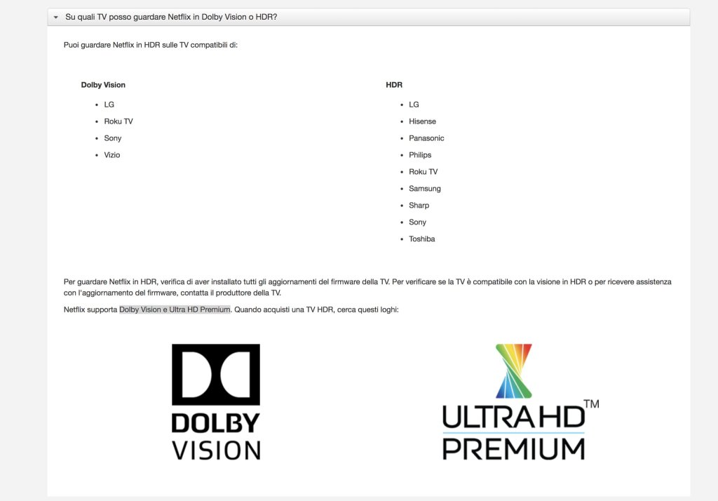 L'attuale supporto HDR in Netflix