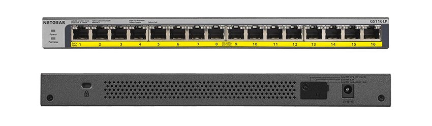switch front rear netgear PoE