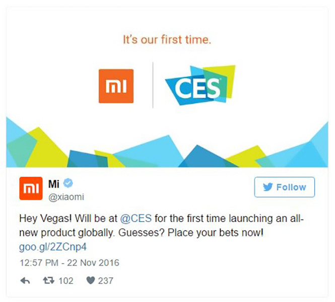 Xiaomi parteciperà al CES 2017 di Las Vegas
