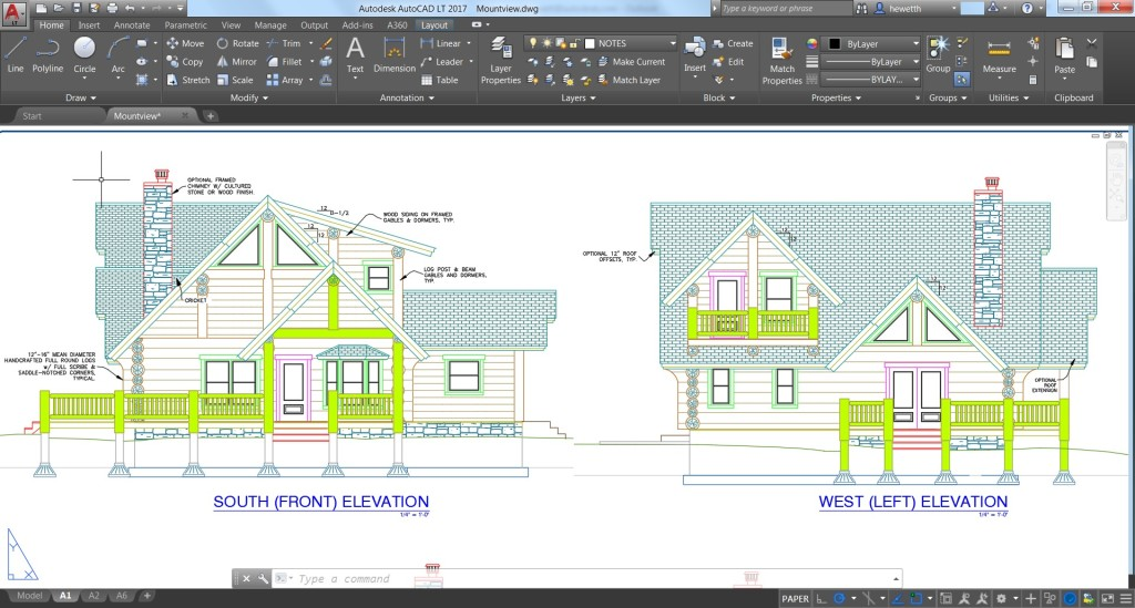 autocad lt 2017 elevations