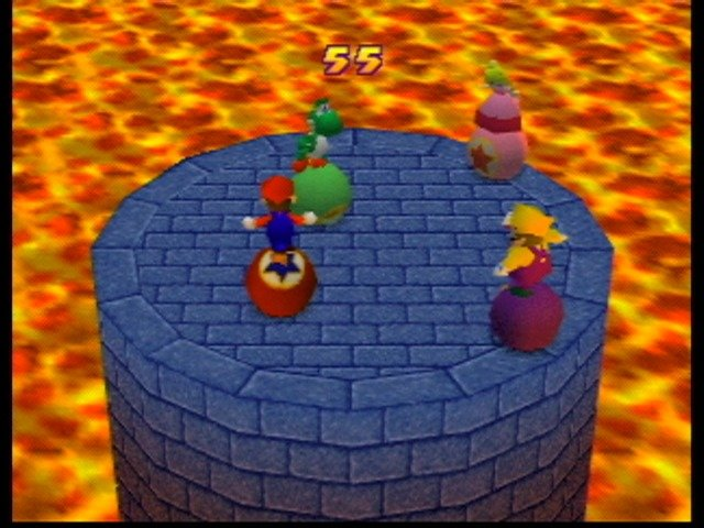 93384 mario party 2 nintendo 64 screenshot mini game try to knock