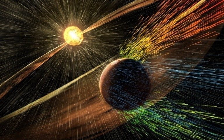 artist s illustration of a solar storm hitting mars and stripping ions from the planet s upper atm 6a0ec1608f90787943cf8ba6f861a6c04