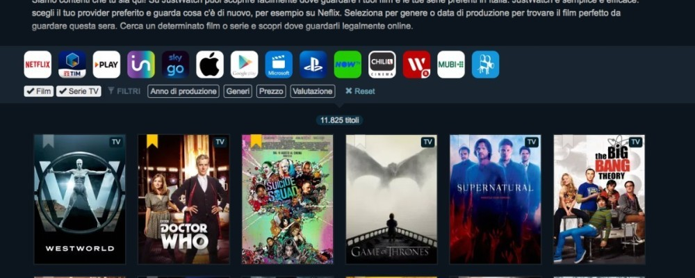 JustWatch aggrega tutto lo streaming di film e serie TV