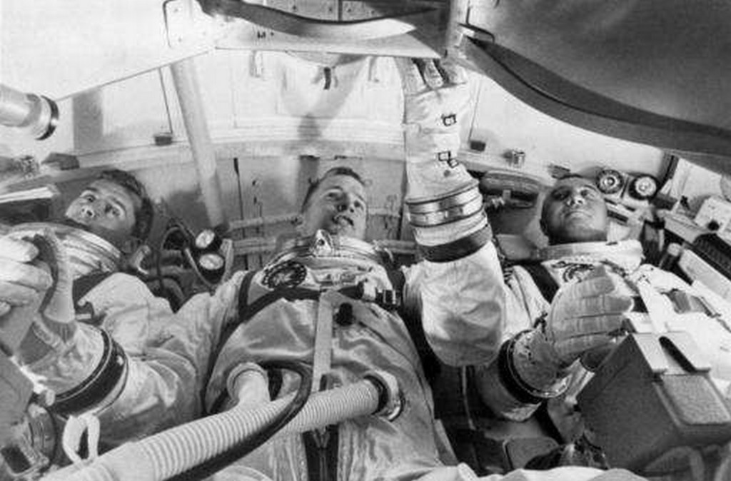 from left, astronauts Roger Chaffee, Edward White II, and Virgil Grissom,