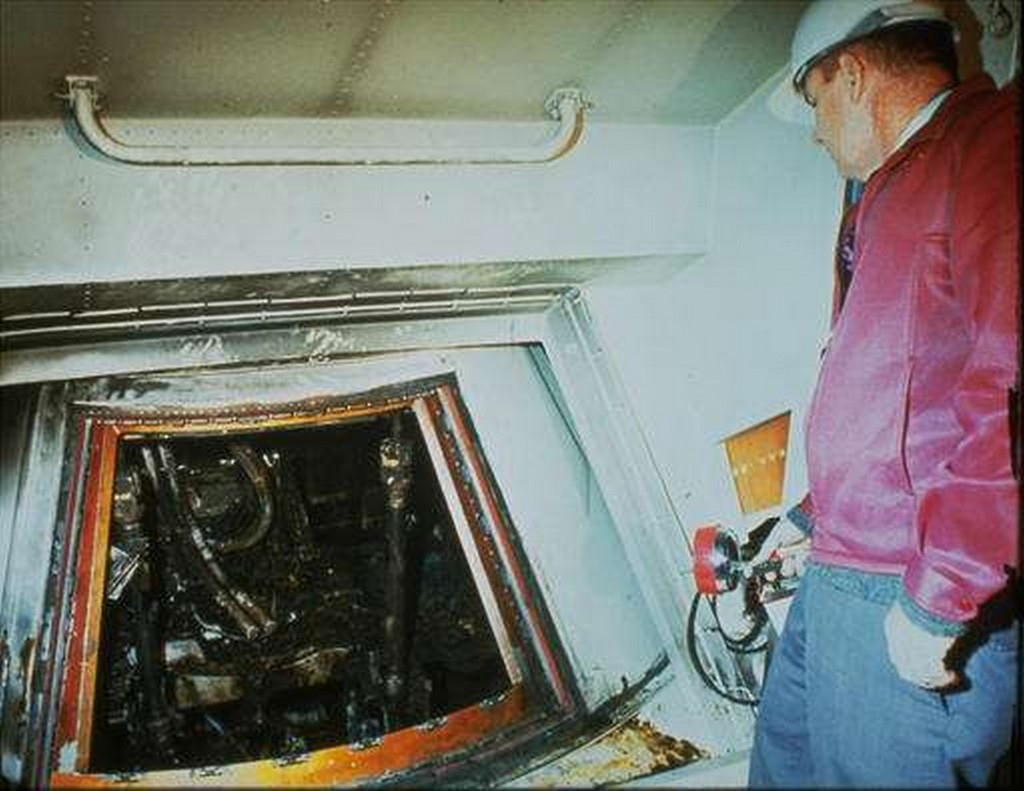 1967 file photo shows the charred interior of the Apollo I spacecraft after a fire which killed astronauts