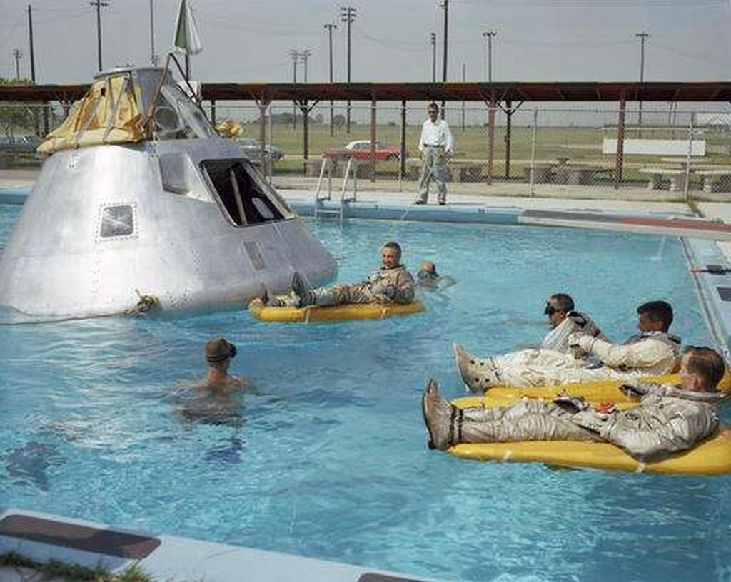 June 1966 photo made available by NASA, the Apollo 1 crew practices water evacuation procedures