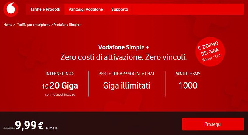 Vodafone Simple+, nuova offerta con 20 GB di dati