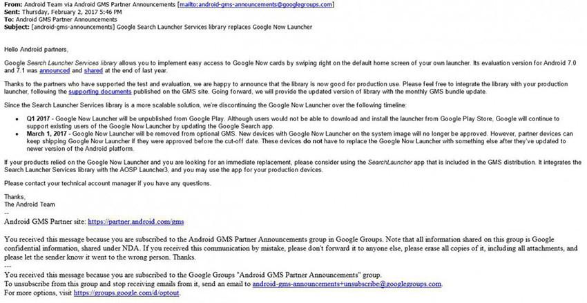 Dal 1° Marzo il Google Now Launcher verrà eliminato dal Play Store