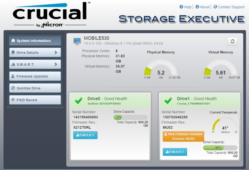 crucial bx100 software