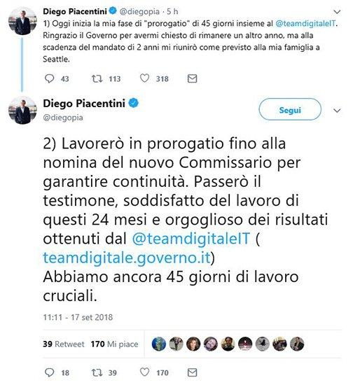 Piacentini lascerà l'incarico di commissario per l'agenda digitale