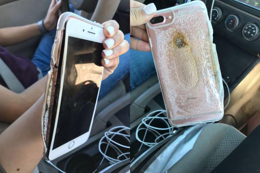 Un iPhone 7 Plus in combustione, ragazza in pericolo