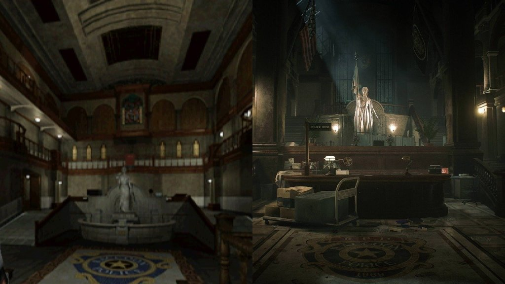RE 2 RPD Main Hall Original vs Remake