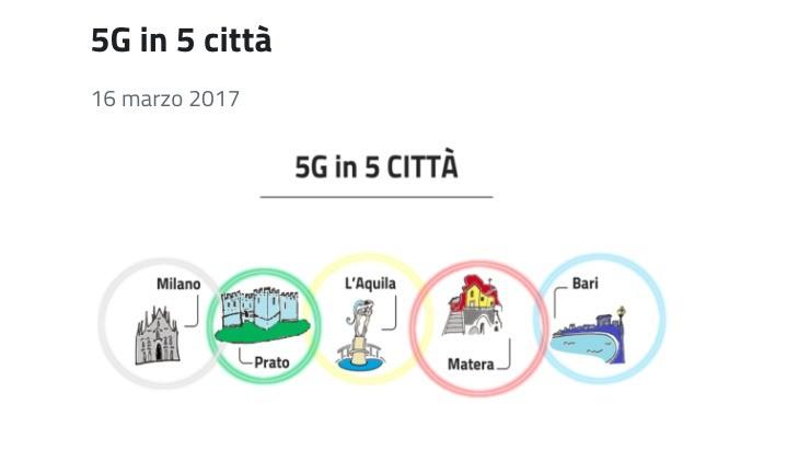 Parte la sperimentazione 5G in cinque città italiane