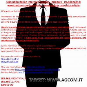 La dichiarazione di guerra di Anonymous Italia