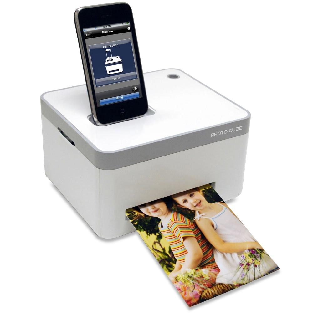 Smartphone photo cube printer with wifi