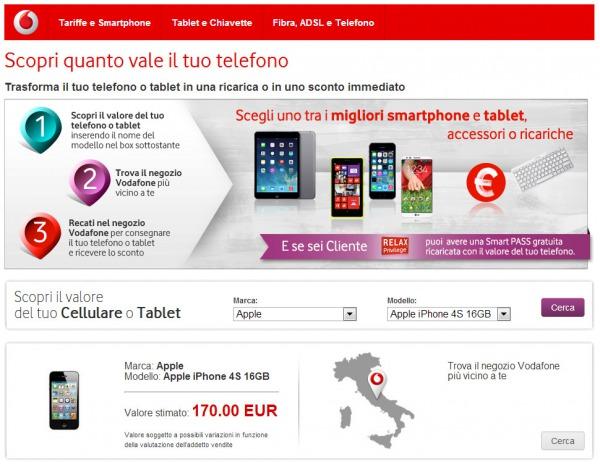Vodafone cambio telefono un galaxy s3 valutato 150 euro for Cellulari 150 euro
