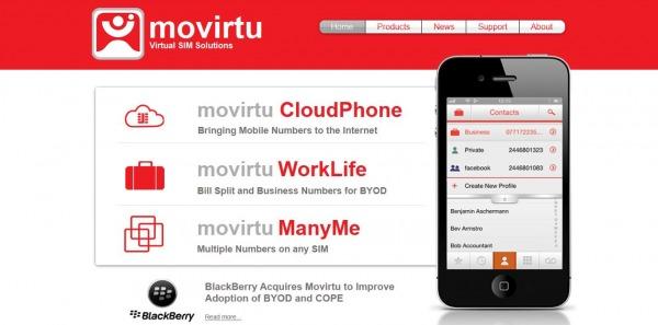 BlackBerry acquisisce Movirtu
