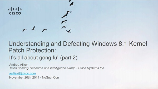 Andrea Allievi sicurezza windows 8.1