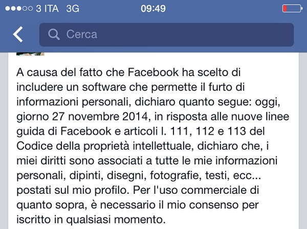 facebook privacy messaggio falso