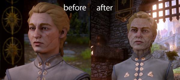 Dragon Age Inquisition - Il personaggio di un giocatore prima e dopo la patch
