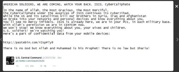 Il messaggio CyberCaliphate