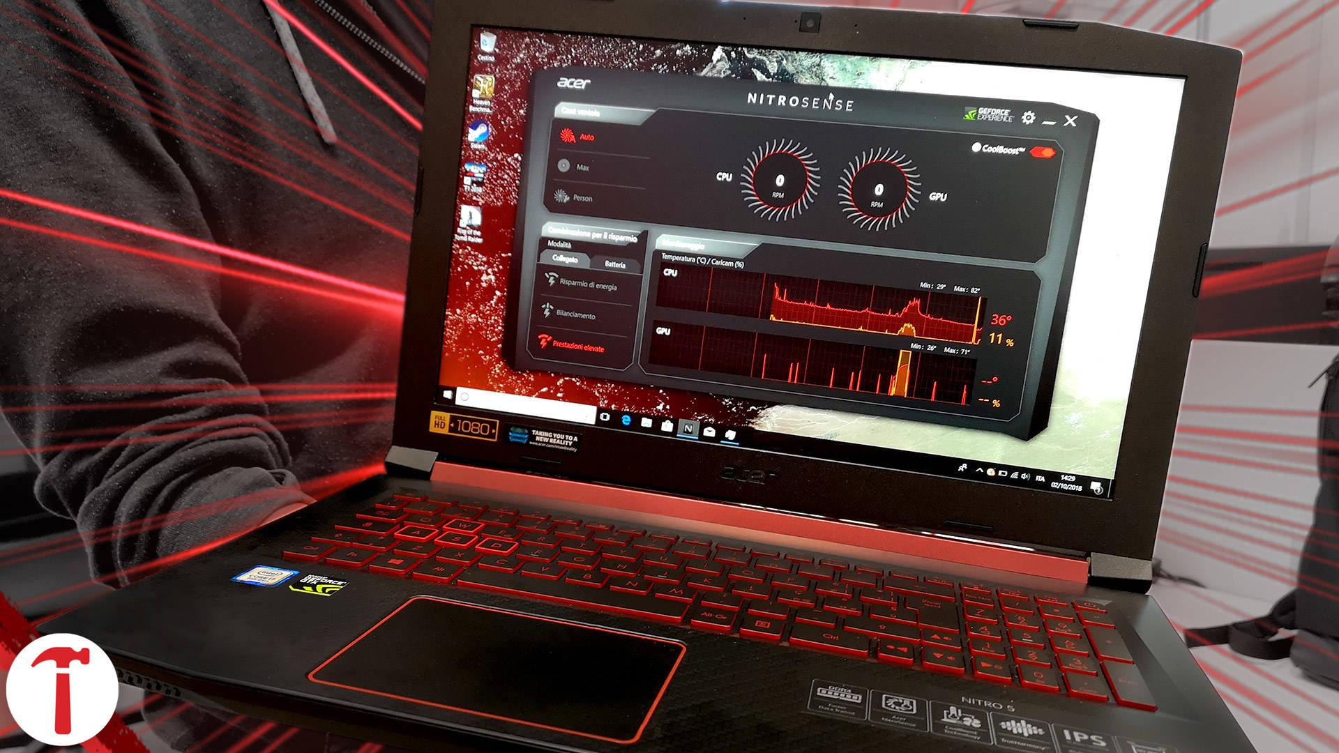 Acer NITRO 5 con i7-8750H da 6 Core/12 Thread e super aggiornabile
